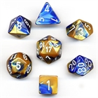 Gemini: Blue-Gold/ White 7-Die Set