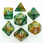 Gemini: Gold-Green/ White 7-Die Set