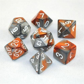 Gemini: Orange-Steel/ White 7-Die Set