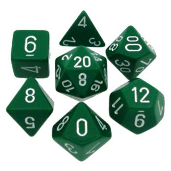 Opaque Green/White Poly 7 Die Set