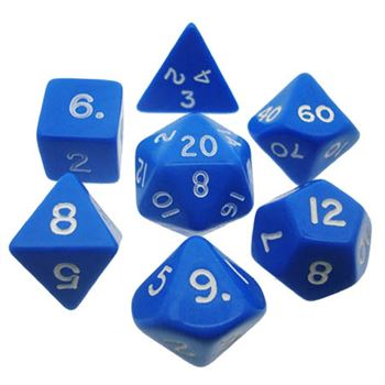 Opaque Blue/White Poly 7 Die Set