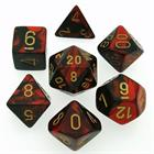 Gemini: Black-Red/Gold 7-Die Set