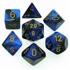 Gemini: Black-Blue/Gold 7-Die Set