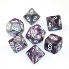 Gemini: Purple-Steel/White 7-Die Set