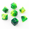 Gemini: Green-Yellow/Silver 7-Die Set