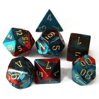 Gemini: Red-Teal/Gold 7-Die Set