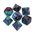 Gemini: Purple-Teal/Gold 7-Die Set