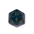 Large D20 - Opaque Dusty Blue/Gold