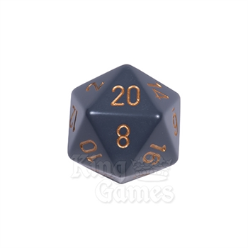 Large D20 - Opaque Dark Grey/Gold